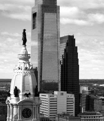 William Penn atop City Hall, Philadelphia, followed by the Comcast Center, and Bell Atlantic Tower.