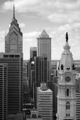 One Liberty Place, BNY Mellon Center, and City Hall as seen from Loews Hotel, Philadelphia.