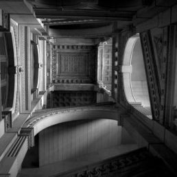 Upward angle inside one of the niches of the City Hall building, Philadelphia.