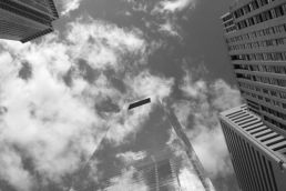 The Comcast Center, Philadelphia, camouflaged by it's reflective surface and the clouds in the sky.