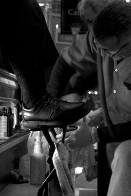The art of shoe shining is still in effect at 30th Street Station, Philadelphia.