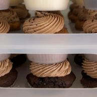 Trays are full of the many flavors of cupcakes on the Cupcake Truck. These are chocolate with nutella buttercream icing.