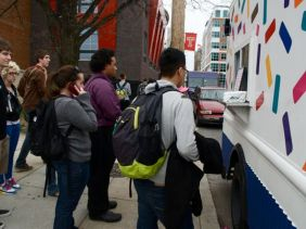 The line at Buttercream, the Cupcake Truck, grows longer on Temple University's campus in North Philadelphia.