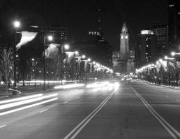 Traffic on Benjamin Franklin Parkway, Philadelphia.