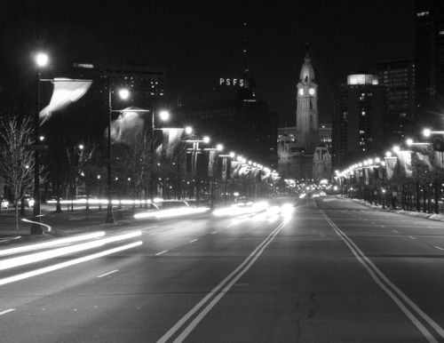 Traffic on Benjamin Franklin Parkway, Philadelphia.
