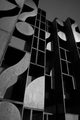 Atmosphere and Environment XII by Louise Nevelson behind the Philadelphia Museum of Art.