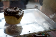 The last vanilla cupcake with chocolate icing left... for now.