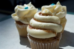 Cinnacake Classic cupcake sits in front of two Vanilla Bliss cakes from Cinnabon at the Mall at Steamtown, Scranton, PA