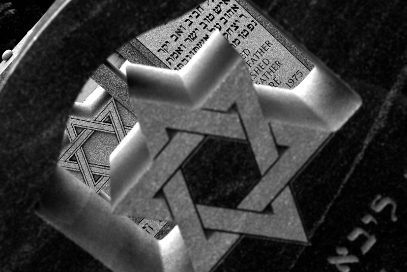 The Star of David is a common motif in portions of the Hanover Green Cemetery.