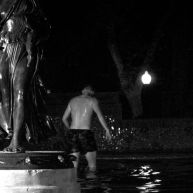 A 17 year old commemorates his final moments of being a child by jumping into the fountain on Rittenhouse Square in his boxers. There is still time for him to get caught and not be arrested.