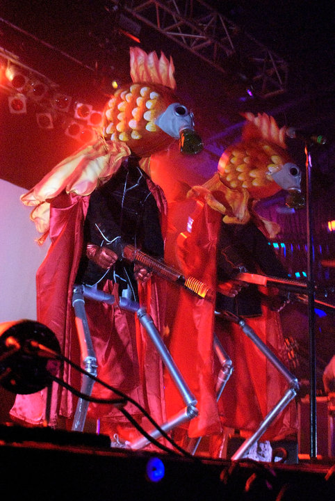 Of Montreal's grand entrance is nothing short of spectacular, showcasing a few of the many costumed creatures included in their set Wednesday night.
