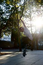 Colin Keaton, 19, from Middletown, New Jersey, practices skateboard tricks in the sunset at the unofficial skate park on Broad Street and Cecil B. Moore Avenue Monday September 6, 2010. Keaton has been skating for 9 years.