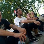 "From left: Isaac Jaeggi, 19, Colin Keaton, 19, and Brian Leddy, 21 take a break from skating at the corner of Cecil B. Moore Avenue and Broad Street on Monday, September 6, 2010. ""I met these guys here,"" Leddy says."