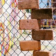 Bricks in a fence on 5th and Fairmount Streets.