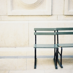 Two seats in the MET's sculpture garden await the bottoms of Betty Breznay and Kyle Psulkowski.