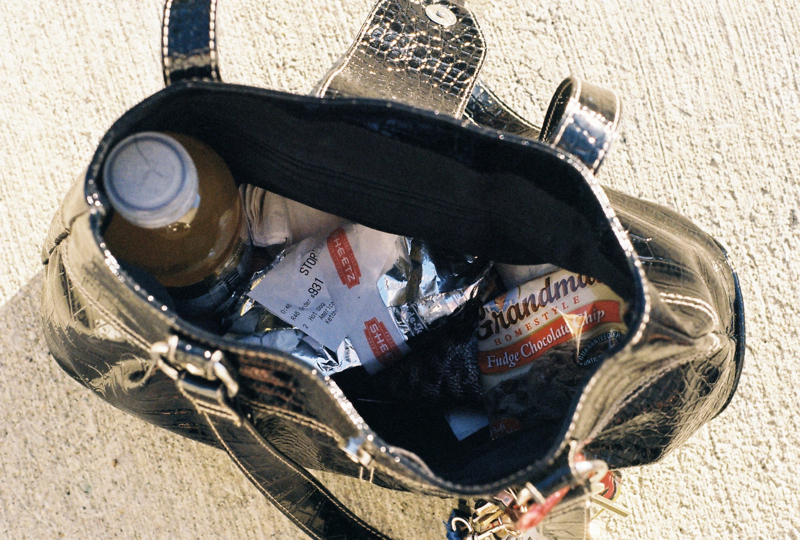 My purse full of sheetz hot dogs, cookies, and vitamin water.