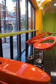 The interior of Berry Sweet on 9th and South Streets is colorful and complementary.