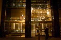 The Philadelphia Building's strange light fixture, Juniper Street.