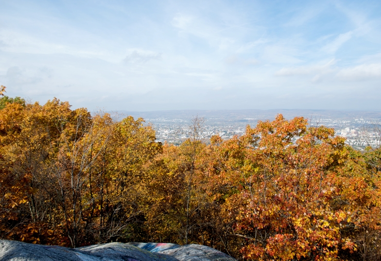 "A view of the Wyoming Valley from the top of ""Giant's Despair,"" Laurrel Run, PA."