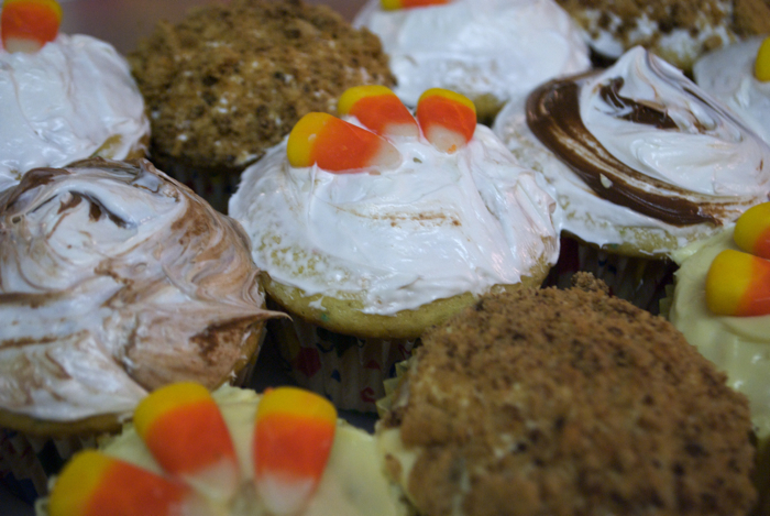 A array of Thanksgiving themed cupcakes under my horrible fluorescent light in my kitchen.