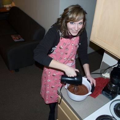 Using my hand-mixer for the first time to make devil's food cupcakes!