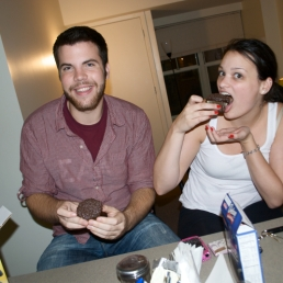 Drew and Ally enjoying the Swamp Thing cupcakes in my kitchen at University Village.