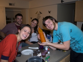 Julia, Drew, Ally, and Kyle pose with the cupcakes and some bottle of food stuffs!