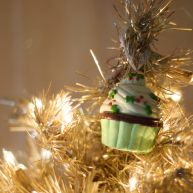 Our angel fell off and another other top is too tall, so there's a Christmas cupcake atop my tree!