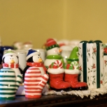 The tip of the iceberg of Aunt Nel's Christmas salt and pepper shaker collection.