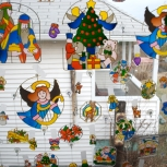 Hand painted stained glass pieces hang in all of Aunt Nel's windows.