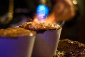 A flaming, delicious crème brûlée from Rim Cafe, 9th and Federal Streets, South Philadelphia.