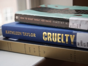 As of January 9, 2011, I am reading Classic Art by Heinrich Wolfflin, Cruelty by Kathleen Taylor, and How to Want What You Have by Timothy Miller.
