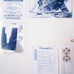 Top left, clockwise: Socialism lecture poster, Lusitania, food calendar from Italy, Spring '11 class roster, first print I ever developed.