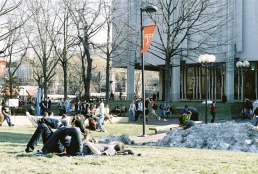 Beury Beach, the largest patch of grass on Temple's Campus.
