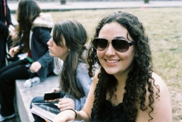 Jaleh Najafali wears here sunglasses to class on the mezzanine even when it's cloudy because she broke her real ones and feels better with any type of glasses on.