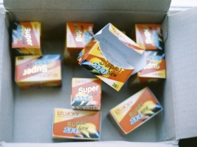 A box of boxes of Lucky Color film I purchased from South Korea. $22 for 360 exposures.