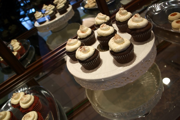 A beautiful display case of chocolate and red velvet cupcakes at Truly Scrumptious, Kingston, PA.