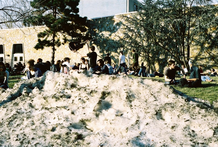 February 18, 2011, the temperatures were nice enough to sit on Beury Beach after class, but not warm enough to melt all the snow.