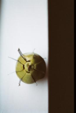 That pear is dangerous.