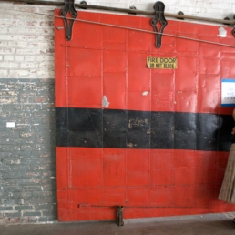 Although the building had no grand fire extinguishing plans, it had this fire door!