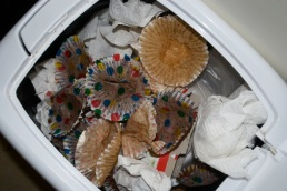 This is what our garbage can looked like most days. Cupcakes cupcakes cupcakes.