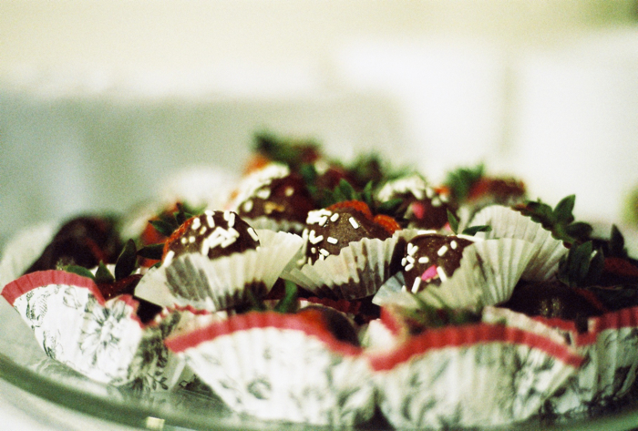 Mom's chocolate covered strawberries.