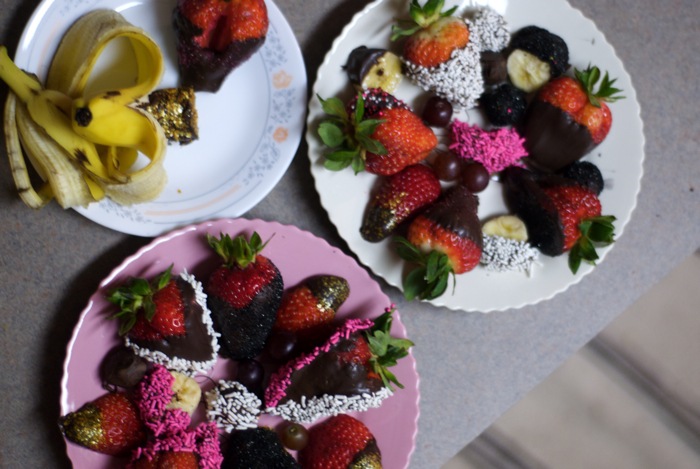 Betty's splendid array of chocolate covered fruits.