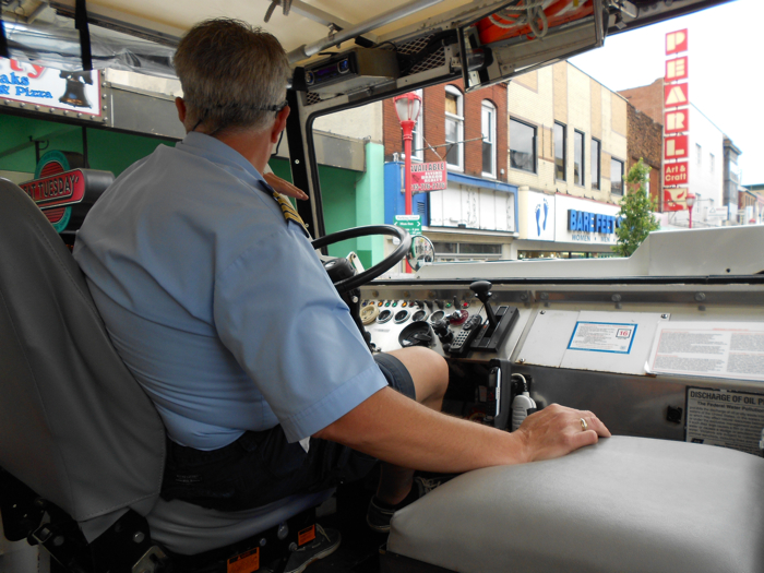 Capt. Norm does his North Philly lean while cruising down South Street.