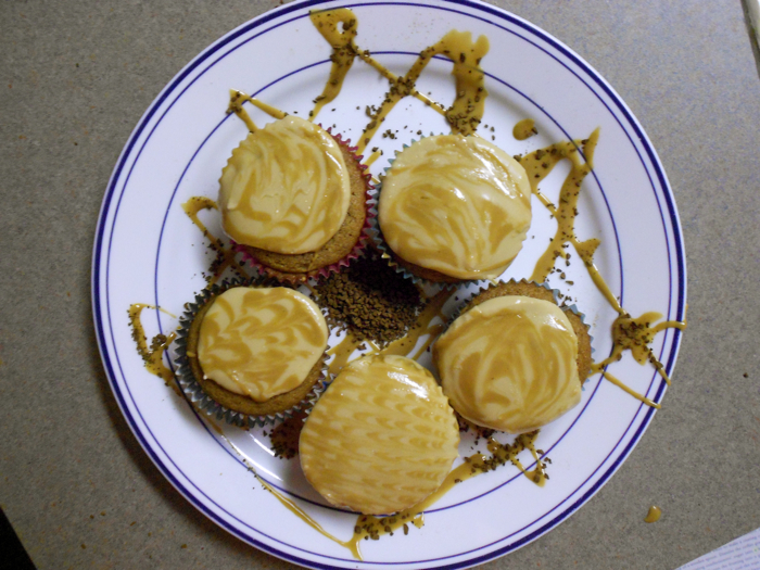 Our attempt at making the coffee cupcakes look good.