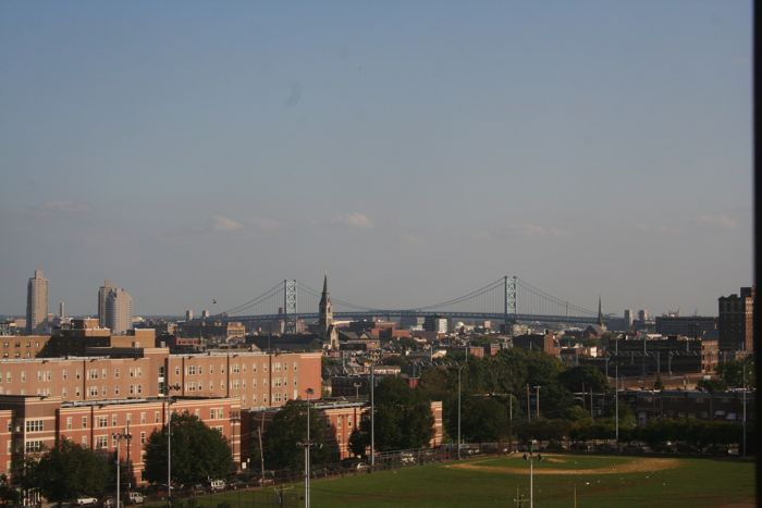 University Village, the Ben Franklin Bridge, and many church steeples in between.