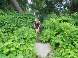 "Betty barrels down the ""steps"" to the Susquehanna Beach."