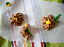 The various hibisci I molded from gum paste.