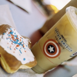 It's Captain America time at Dunkin Donuts. Not sure what all the fuss is about.