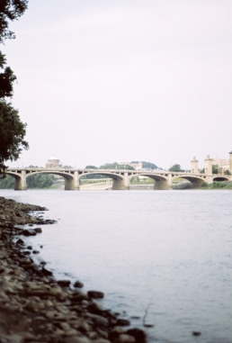 The Market Street Bridge from the west side shore of the Susquehanna.
